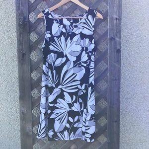 Kari Blue black & white shift dress, sleeveless,